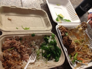 See how fancy we are with our plastic forks eating out of the cardboard containers?