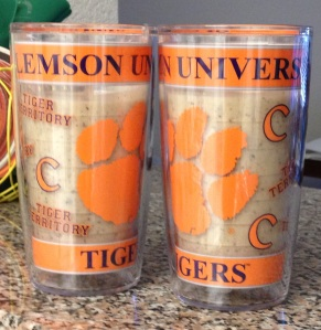 Served in Clemson Tervis tumblers, of course.