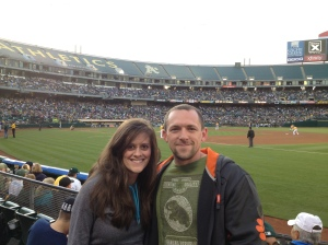 It was pretty warm when the game started, but once the sun goes away, it gets pretty chilly, hence the sweatshirts