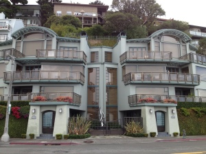Fancy houses line the main street in downtown Sausalito.